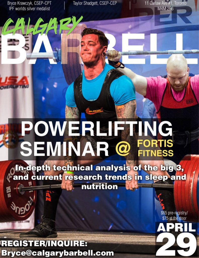 Calgary Barbell Fortis Fitness Power lifting Seminar